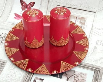 Red & Gold Duo Candle Set