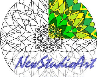 Printable Mandala Coloring Page-Art Therapy-Adult Coloring Page-Antistress-Coloring for Relaxation-Instant Digital Download - MANDALA 010