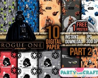STAR WARS Part 2 Digital Paper. Instant Download - Scrapbooking - Star Wars Printable Paper Craft The Last Jedi BB8 Rey Chewbacca
