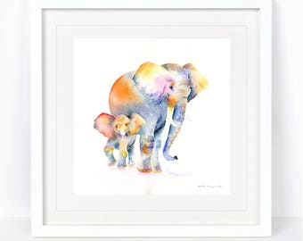 Me and My Mum - Elephant Print. Printed from an Original Sheila Gill Watercolour. Fine Art, Giclee Print, Hand Painted, Home Decor