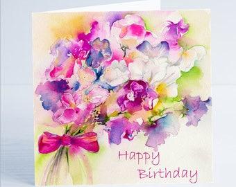 Happy Birthday Sweetpea Flower Greeting Card
