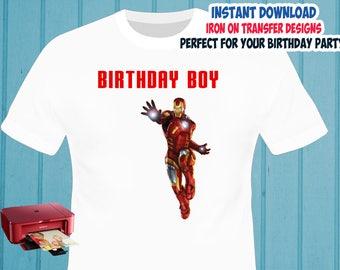 Iron Man Iron On Transfer , BOY Birthday Shirt Iron On Transfer , Digital Files , PNG , High Resolution , Instant Download