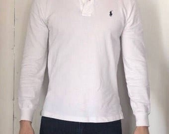 Mens white long sleeve polo by Ralph Lauren.