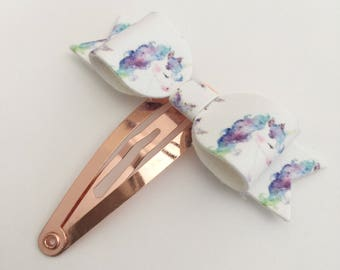 Watercolor Unicorn Petite Snap Clip - Faux Leather - Snap Clips - 50mm Clips -
