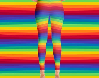 Rainbow striped leggings - rainbow leggings - rainbow stripes - colorful print - workout pants - workout leggings
