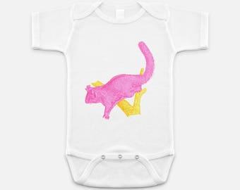 Australian Native Animal Print - Baby Onesie - 3-6 months - 6-12 months - 12-18 months - Pink Possum