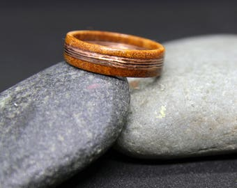 Handcrafted Copper Veneer and Solid Wood Ring. Solid Chakte Viga Wood with Copper Veneer Middle.