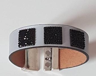 Grey and black Cuff Bracelet