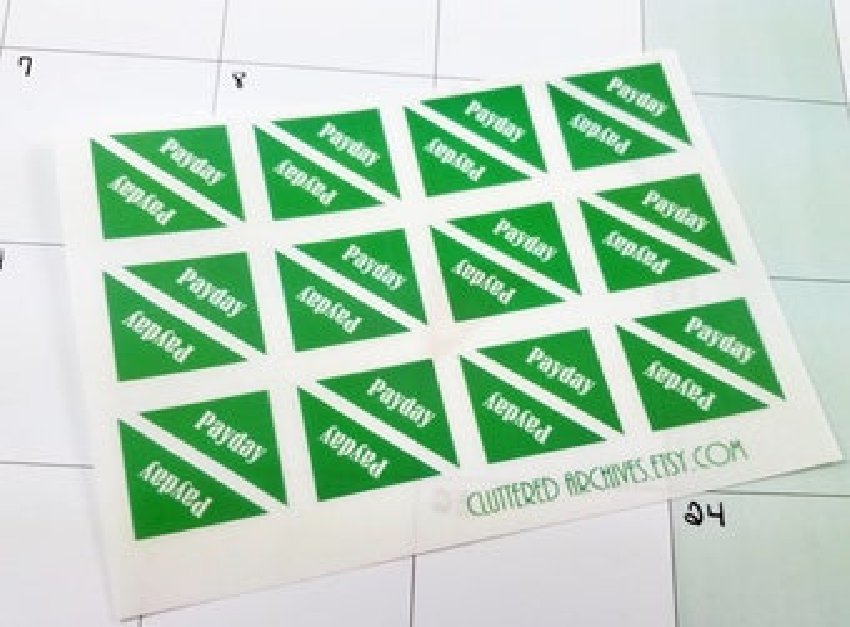 Budget stickers, Budget Planner, Payday sticker, Corner payday sticker, Clear sticker, layering stickers, Happy Planner stickers, Bujo