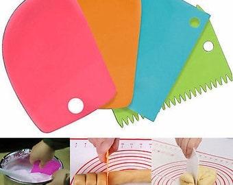 3Pcs New Plastic Dough Icing Fondant Scraper Cake Decorating Baking Pastry Tools