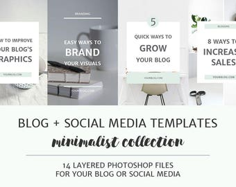 Minimalist Blog Post and Social Media Image Templates / Photoshop Templates