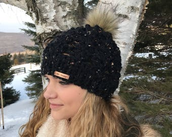"Chunky Crochet ""Ponytail or Knot"" Beanie / with Fur Pom Pom or Without"