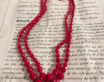Antique Austrian Red Crystal 2 Strand Necklace a Rare Beauty!