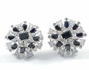 Black and White Cubic Zirconia Stud Earrings