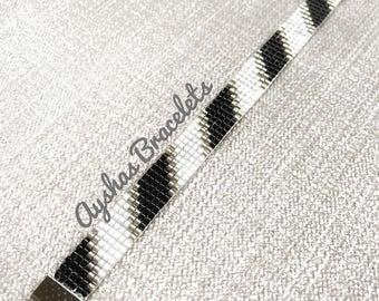 White Black and Silver Miyuki Bracelet / Beaded Bracelet / Boho Style / Miyuki Bead Bracelet / Miyuki Delica