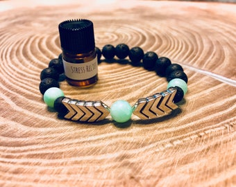 Essential Oil Bracelet Arrow, Essential Oil Jewelry, Essential Oil Bracelet, Diffuser Bracelet, Aromatherapy Bracelet, Lava Stone Bracelet
