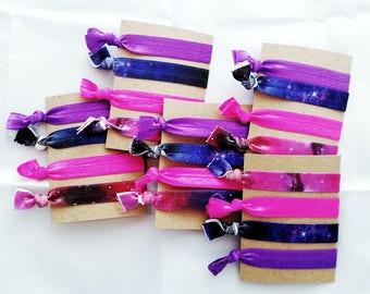 Galaxy Hair Ties~Galaxy Hair Bands~Hair Ties~Pink and Purple Hair Ties~Elastic Hair Ties~Gift for Girl~No Metal Hair Ties