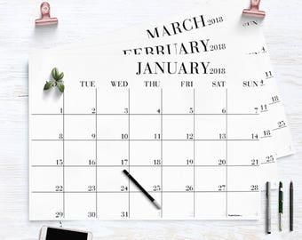 Luxe 2018 Wall Calendar, 2018 Monthly Calendar, 2018 Calendar, 2018 Monthly Planner, A2 Calendar, Wall Planner 2018, A2 Planner, A3 calendar