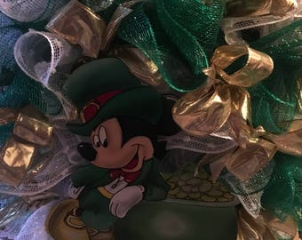Mickey Mouse st. Patricks day wreath