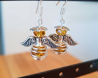 Gold and Silver Christmas Angel Earrings
