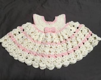 Crochet Baby Dress - cream stripe (3-6 months)
