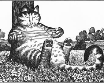 "KLIBAN Cat Original Vintage Art Print entitled ""CATS-CRADLE """