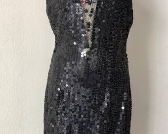 Evening Dress. Beaded black dress.