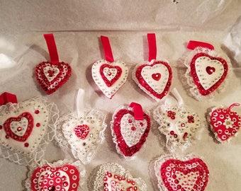 Vintage handmade Valentine ornaments 4