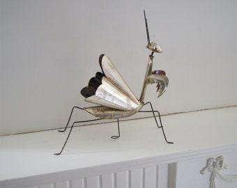Silver Leaf Tin Praying Manitis Bug Mexican Design