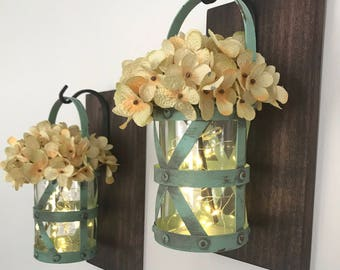 Hanging Lantern Sconces, Rustic Wall Decor, Rustic Home Decor, Farmhouse Decor, Hydrangea, Hanging Lantern Sconce, Wall Decor, Sconces