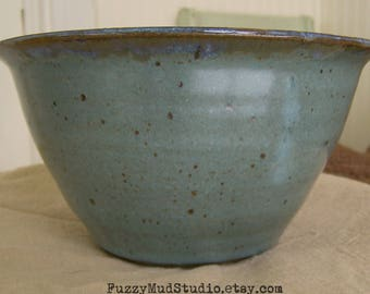 Large Handmade Pottery Bowl Serving Bowl Salad Bowl Wheel Thrown Pottery Serving Bowl Aqua Pottery Aqua  Vegetable Bowl Rustic Aqua Pottery