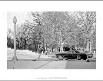 Black and White Photograph - Sportscar on the Mall
