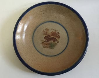 "Monroe Salt Works RABBIT 12.5"" Serving Bowl Plate Tray Stoneware Blue Trim Transferware Maine"