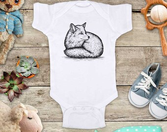 Fox sitting illustration graphic Zoo animal wild kingdom Shirt - Baby bodysuit Toddler youth Shirt cute birthday baby shower gift