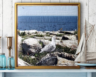 Star Island Seagulls - Float Framed Thread Painting - Modern Quilted Wall Art in Muted Ocean Tones