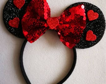 Red Valentines glitter heart Minnie mouse ears.