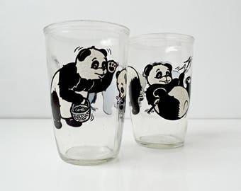 Black & White Two Vintage Panda Bear Drinking Glasses