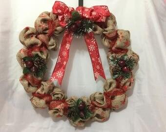 Holiday Wreath - Christmas Wreath - Christmas Burlap Wreath - Burlap Wreath