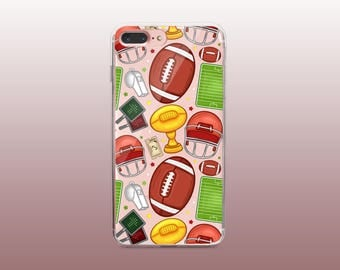 Football Sporty Clear TPU Phone Case for iPhone 8- iPhone 8 Plus - iPhone X - iPhone 7 Plus-iPhone 7-iPhone 6-iPhone 6S-Samsung S8