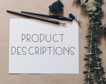 Website Product Descriptions