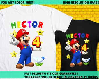 Super Mario / Iron On Transfer / Super Mario Boy Birthday Shirt Transfer DIY / Super Mario High Resolution 300 DPI / Digital Files