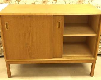 Mid Century Modern Solid Oak Cabinet Sliding Doors Danish 60's Denmark
