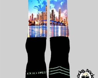 Miami Skyline Socks || FREE SHIPPING ||