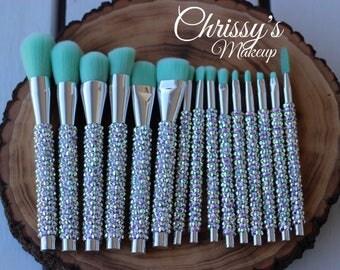 15 PC Full Face Brush Set Hand-Crafted Rhinestoned Brushes