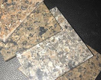 Dark Brown Granite Coaster Set