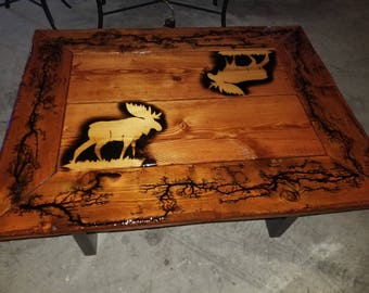 Factional burned coffee table with epoxy