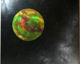 """Planet Janet / New Frontier - 12""""x12"""" acrylic on board with painted wood sides, ready to hang"""