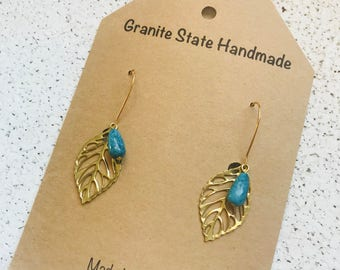 Gold Filagree Leaf Earrings