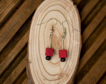 Hand made elegant and quirky wooden bead dangle earrings