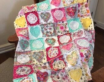 Cozy Parker Valentine Throw / Rag Quilt / Wrap / Blanket